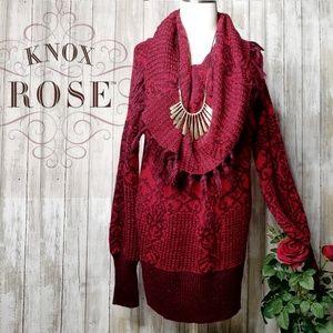 Knox Rose boho cowl neck fringe oversized sweater